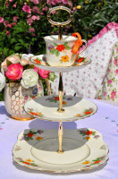Tuscan Vintage China Hand Painted Teacup Top Cake Stand c.1936+