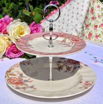 Johnson Bros. Rose Chintz Pattern 2 Tiered Cake Stand