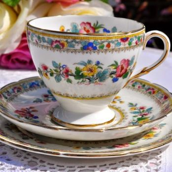 Foley Ming Rose Floral Teacup Trio c.1948-63