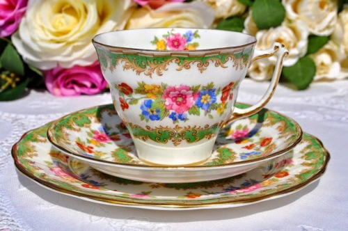 Old Royal Vintage Green and Floral China Teacup Trio