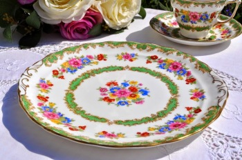 Old Royal Vintage Green and Floral Bone China Cake Plate