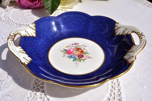 Coalport Hand Painted Vintage Blue Floral Bone China Biscuit Tray