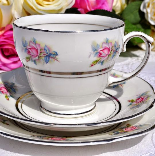 Duchess China Pink Roses Teacup Trio with Platinum Gilding c.1950's