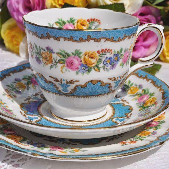 Crown Staffordshire Tunis Blue Vintage Bone China Teacup Trio