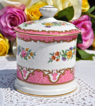 Crown Staffordshire Tunis Pink Vintage Bone China Preserve Pot with Lid c.1930's