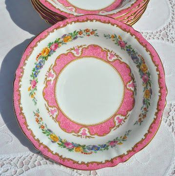 Crown Staffordshire Tunis Pink Vintage Bone China Dessert Bowls Set c.1930'