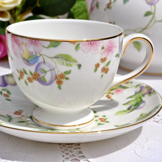 Wedgwood Sweet Plum Pattern Bone China Teacup and Saucer