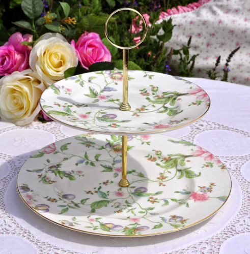 Wedgwood Sweet Plum Two Tiered Cake Stand