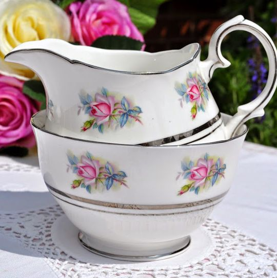 Duchess China Pink Roses Milk Jug and Sugar Bowl with Platinum Gilding c.19