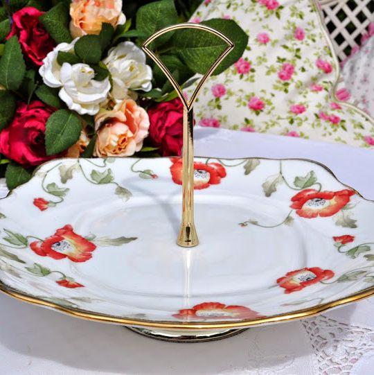 Royal Albert Poppy 1970's Style Handled Hostess Cake Serving Plate