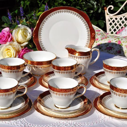 Duchess Winchester Red and Gold Vintage Bone China Tea Set for Six with Cak