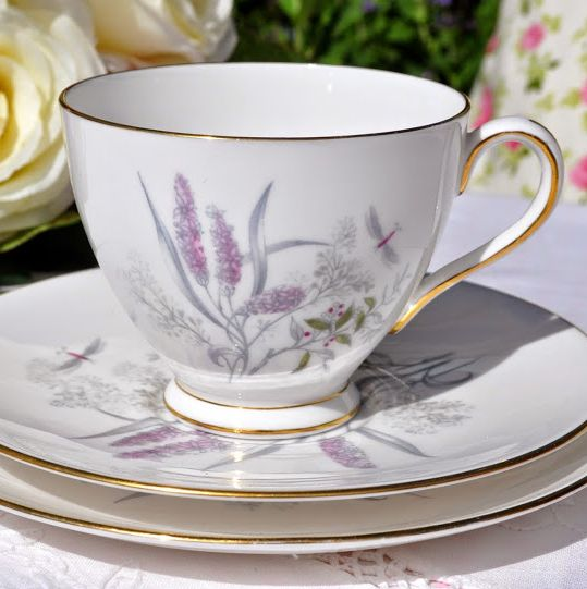 Tuscan China Pale Pink Flowers and Dragonfly Pattern Vintage Teacup Trio c.