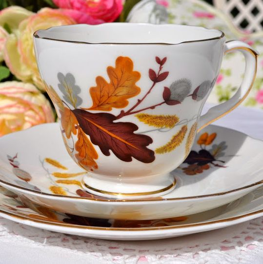 Duchess Oak Leaves Vintage China Teacup, Saucer and Tea Plate Trio