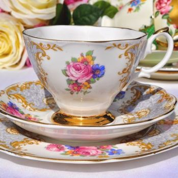Imperial Fine Bone China Floral Teacup, Saucer and Tea Plate Trio
