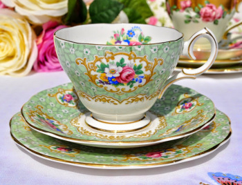 Queen Anne Gainsborough Floral Green Vintage Teacup, Saucer and Tea Plate
