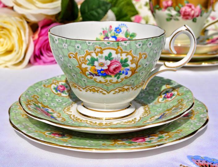 Queen Anne Gainsborough Floral Green Vintage Teacup