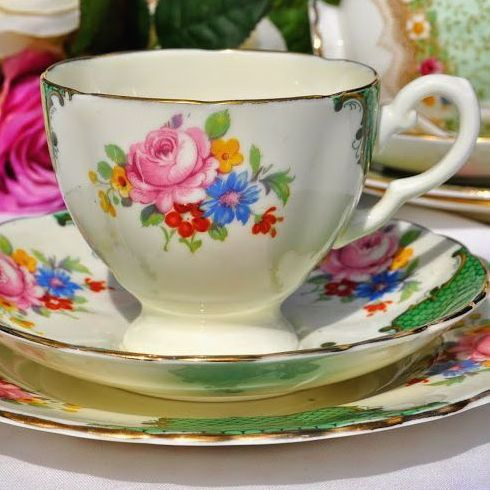 Tuscan Vintage Green and Pink Floral Vintage China Teacup Trio