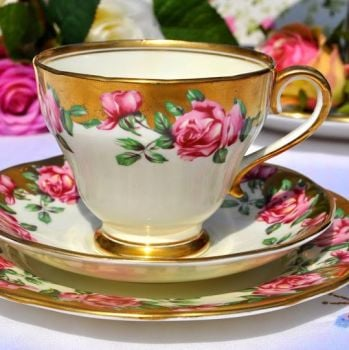 Salisbury Pink Rose and Gold Vintage Teacup, Saucer and Tea Plate Trio
