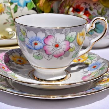 Royal Stafford Pink, Yellow and Blue Flowers Vintage Teacup, Saucer and Tea Plate c.1952+