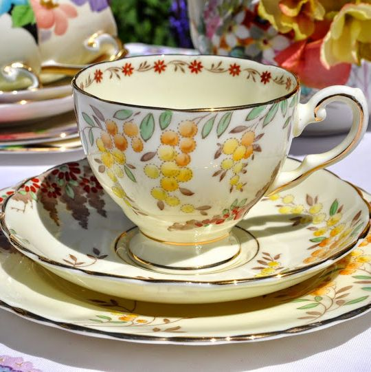 Gainsborough China Hand Painted Orange and Red Vintage Teacup, Saucer and T