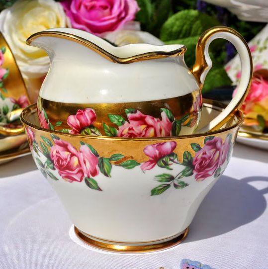 Salisbury Pink Rose and Gold Vintage Bone China Cream Jug and Sugar Bowl