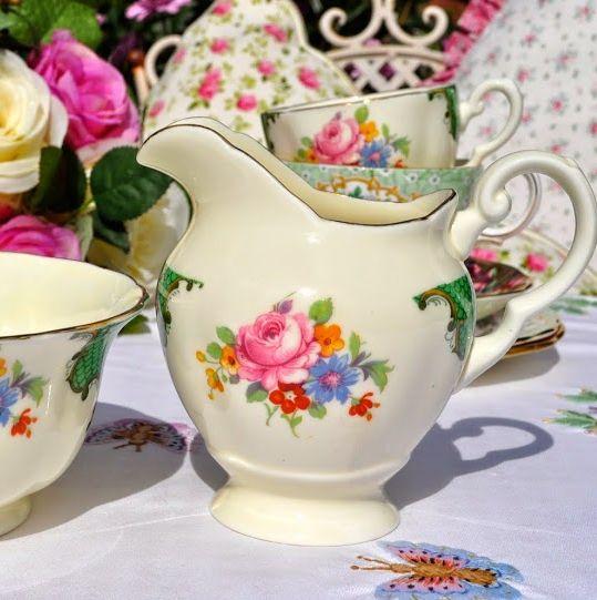 Tuscan Vintage Green and Pink Floral Vintage Cream Jug and Sugar Bowl c.193
