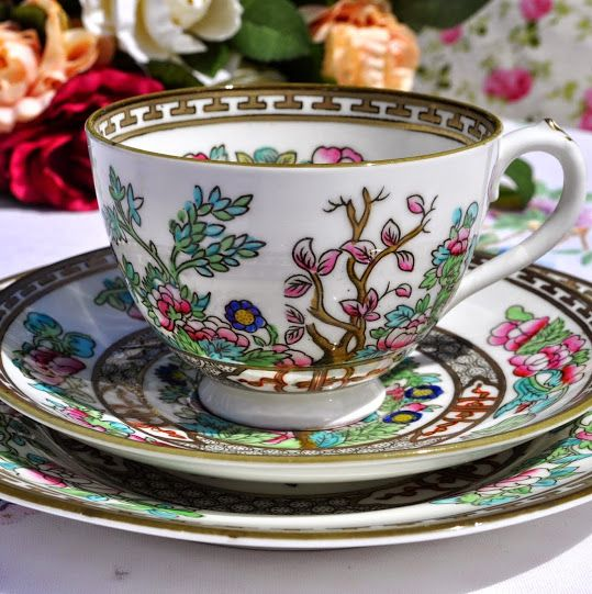 Coalport Indian Tree Teacup, Saucer and Tea Plate Trio