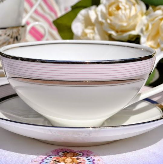 Wedgwood Martha Stewart Collection Ribbon Stripe Rose Teacup and Saucer