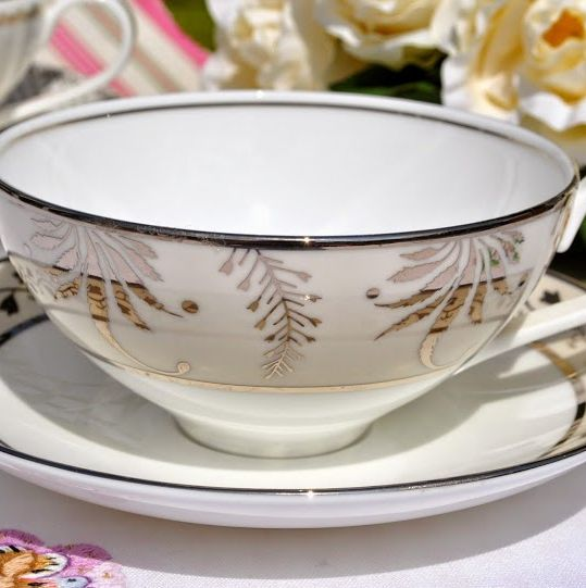 Wedgwood Martha Stewart Collection Meadow Silver Teacup and Saucer