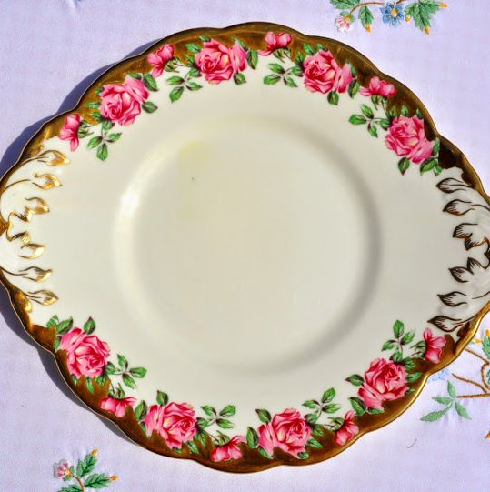 Salisbury Pink Rose and Gold Vintage Bone China Cake or Serving Plate