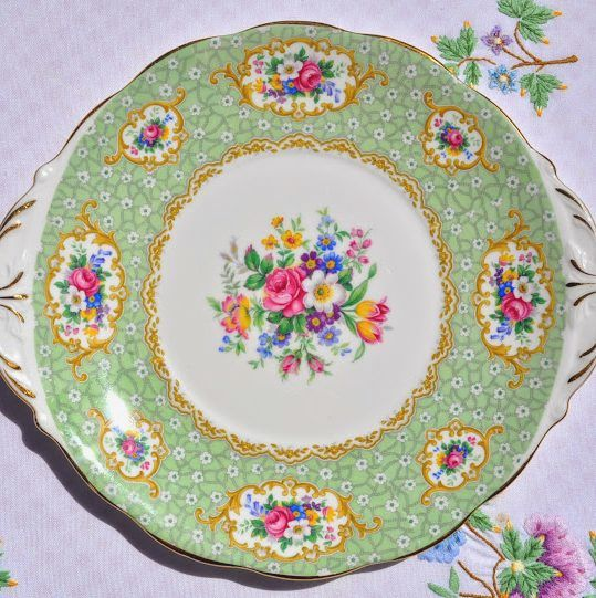 Queen Anne Gainsborough Floral Green Vintage Cake Plate