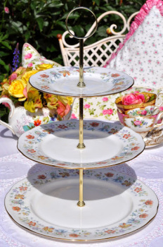 Duchess Evelyn Pattern Vintage Bone China Three-Tiered Cake Stand c.1960's