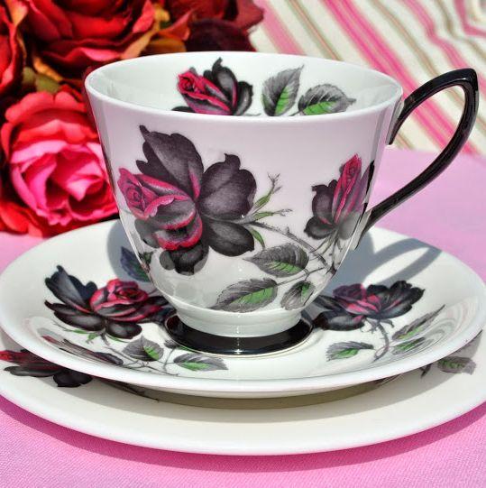 Royal Albert Masquerade Bone China Vintage Teacup, Saucer and Tea Plate Tri