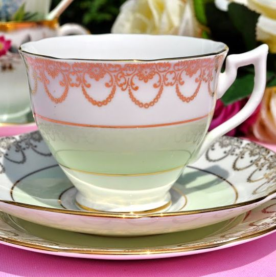 Adderley Fine Bone China Pale Green and Gold Teacup, Saucer and Tea Plate T