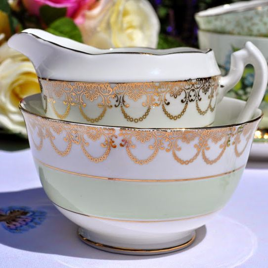 Adderley Fine Bone China Pale Green and Gold Cream Jug and Sugar Bowl