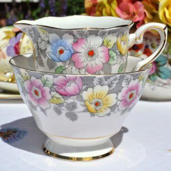 Royal Stafford Pink, Yellow and Blue Flowers Vintage Cream Jug and Sugar Bowl c.1952+