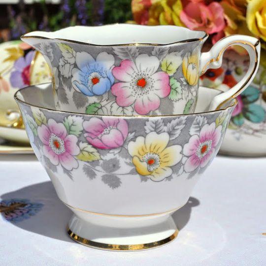 Royal Stafford Pink, Yellow and Blue Flowers Vintage Jug and Sugar Bowl