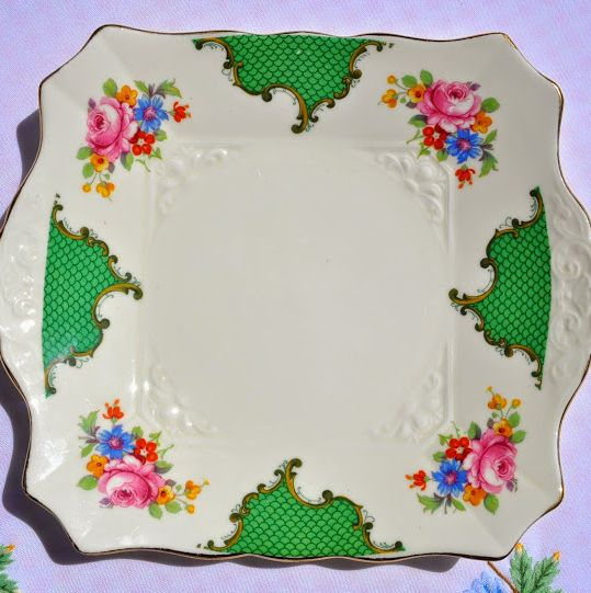 Tuscan Vintage Green and Pink Floral Vintage Square Cake Plate c.1936+