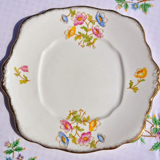 Royal Albert Anemone Vintage Hand Painted Cake Plate c.1935+