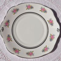 Duchess China Pink and Blue Roses Cake Plate c.1950s