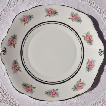 Duchess China Pink and Blue Roses Cake Plate