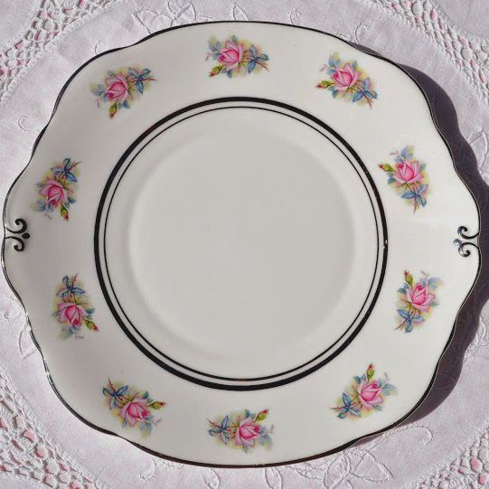 Duchess China Pink Roses Cake Plate with Platinum Gilding c.1950's