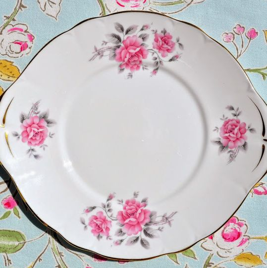 Duchess China Pink Roses Vintage Cake Plate