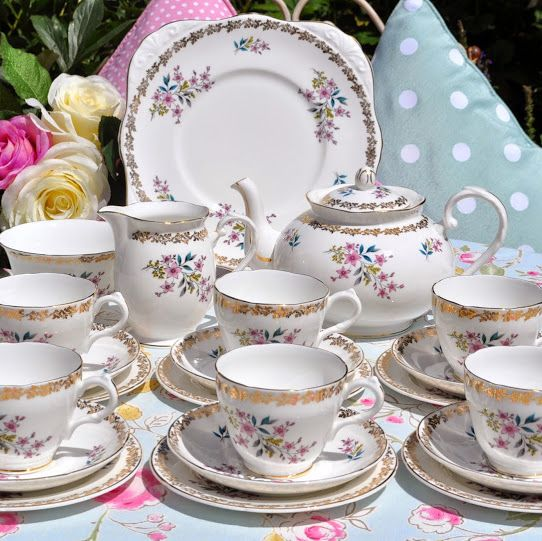 Royal Grafton Vintage Fine English China Floral and Gold Tea Set with Teapo