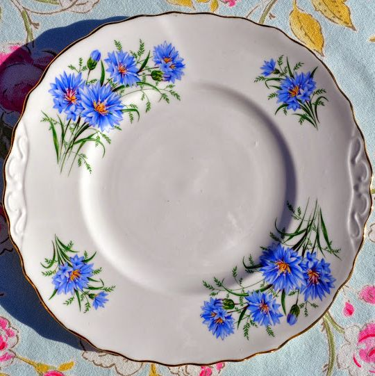 Royal Vale Blue Cornflower Vintage Bone China Cake Plate