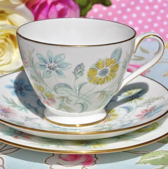 Minton Vanessa Vintage Retro 1950s Teacup, Saucer and Tea Plate Trio
