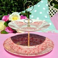 2 Tier Cake Stand Queen's Made With Love Pattern