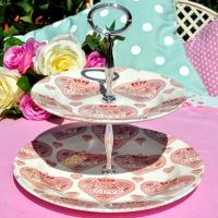 Love Hearts Pink and White 2 Tier Cake Stand