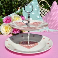 Made With Love Pink Hearts and Crown Queens Plates 2 Tier Cake Stand