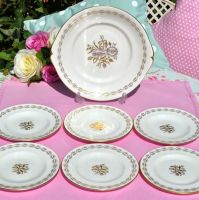 Royal Crown Derby Harvest Poppy Cake Plate and Six Tea Plates c.1960s